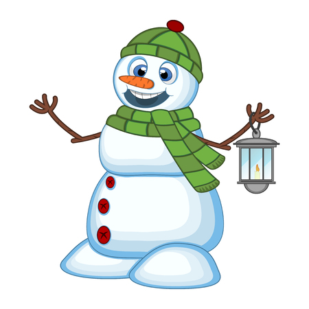 green lantern: Snowman with a lantern and wearing a head cover and a green scarf for your design Vector Illustration