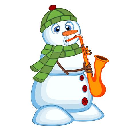 bonhomme de neige: Bonhomme de neige portant un couvre-chef vert et un saxophone �charpe de jeu Illustration