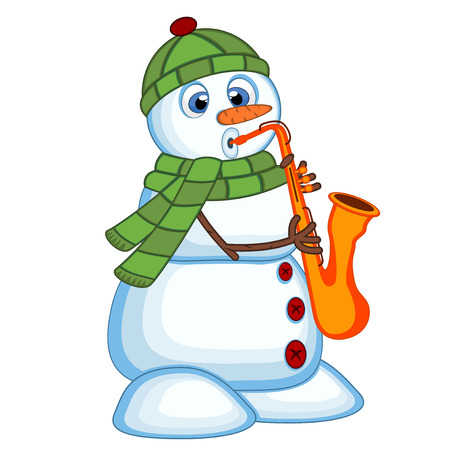 Snowman wearing a green head cover and a scarf playing saxophone Illustration