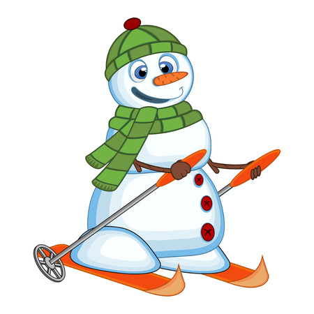 Snowman wearing a green head cover and a scarf is skiing