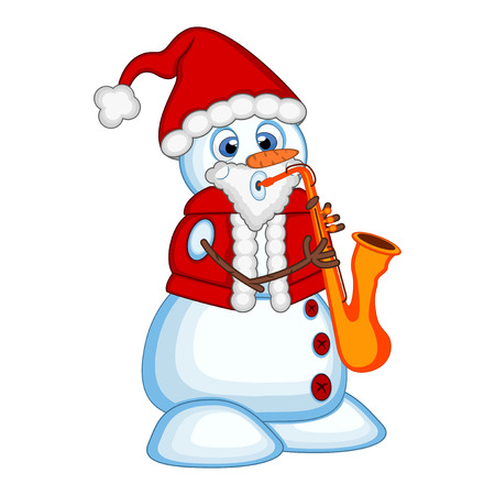 blowing nose: Snowman wearing a Santa Claus costume playing saxophone Illustration