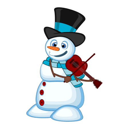 Snowman with hat and blue scarf playing the violin