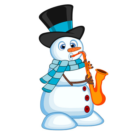 blowing nose: Snowman wearing a hat and a blue scarf playing saxophone