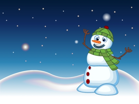 head scarf: Snowman wearing a green head cover and a scarf with star, sky and snow hill background for your design vector illustration