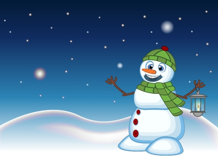 green lantern: Snowman with a lantern and wearing a head cover and a green scarf with star, sky and snow hill background for your design Vector Illustration Illustration