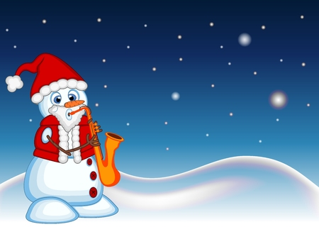 carrot nose: Snowman wearing a Santa Claus costume playing saxophone with star, sky and snow hill background for your design Vector Illustration