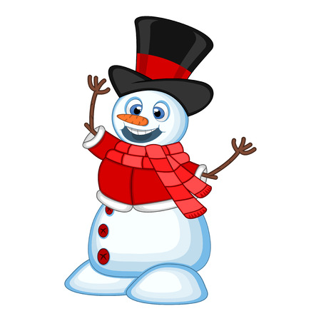 snowman background: Snowman wearing a hat, red sweater and a red scarf Illustration