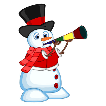 blowing nose: Snowman wearing a hat, red sweater and a red scarf blowing horns
