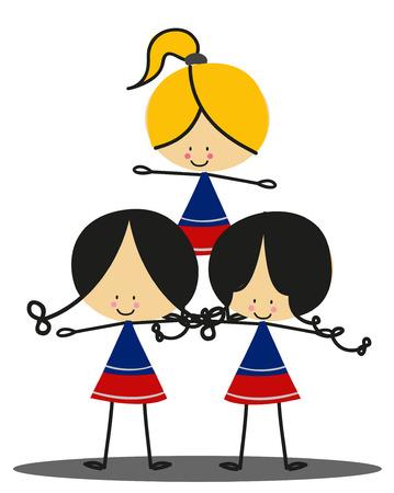 black cheerleader: Doodle Cheerleaders - Full Color Illustration