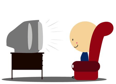 ver television: Doodle Boy ver la televisi�n en el sill�n - A todo color