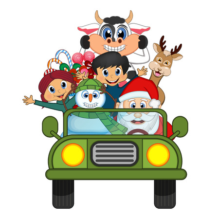 green man: Santa Claus Driving a Green Car Along With Reindeer, Snowman And Brings Many Gifts Vector Illustration