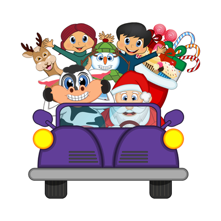 purple car: Santa Claus Driving a Purple Car Along With Reindeer, Snowman And Brings Many Gifts Vector Illustration