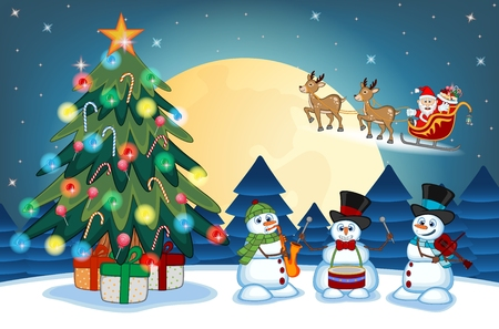 cheerful cartoon: Santa Claus Moving On The Sledge With Reindeer And Brings Many Gifts with christmas tree and snowman Playing Saxophone, drums And Violin With Full Moon At Night Vector Illustration