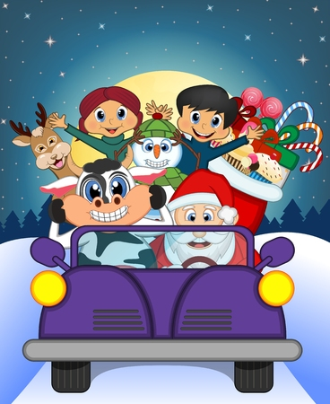 purple car: Santa Claus Driving a Purple Car Along With Reindeer, Snowman, Children, and Full Moon At Night Brings Many Gifts Vector Illustration Illustration