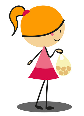 full color: Doodle Girl Shopping - Full Color