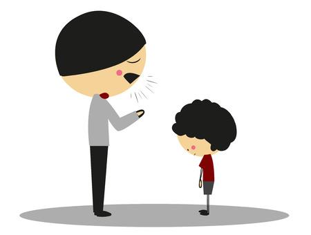 Doodle padre enojado a hijo - a todo color