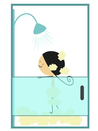 mujer bañandose: Doodle niña tomar un baño - A todo color