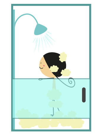 Doodle little girl taking a bath - Full Color