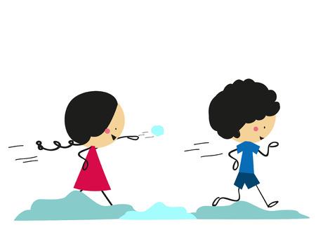 palle di neve: Doodle due bambini giocano a palle di neve di tiro - Full Color
