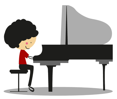 grand kid: Doodle Playing Piano - Full Color