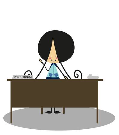 receptionist: Doodle Receptionist - Full Color Illustration