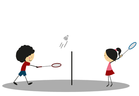 badminton: Doodle Badminton Sport - Full Color Illustration