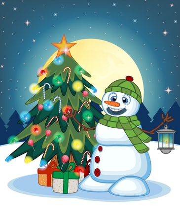 green lantern: Snowman With A Lantern And Wearing A Head Cover And A Green Scarf With Christmas Tree And Full Moon At Night Background For Your Design Vector Illustration