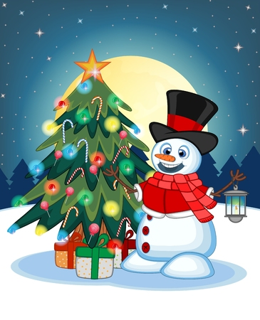 carrot nose: Snowman with a lantern and wearing a hat, red sweater and a red scarf With Christmas Tree And Full Moon At Night Background For Your Design Vector Illustration