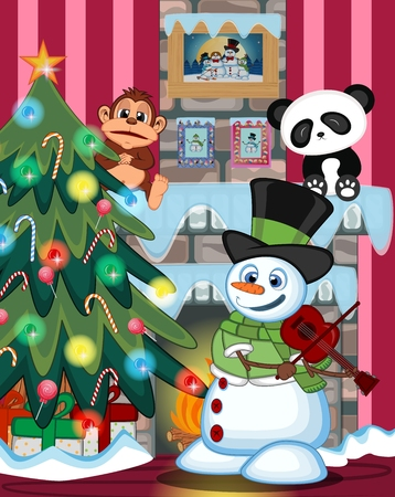 fire place: Snowman With Green Head Cover And Green Scarf Playing The Violin with christmas tree and fire place Illustration