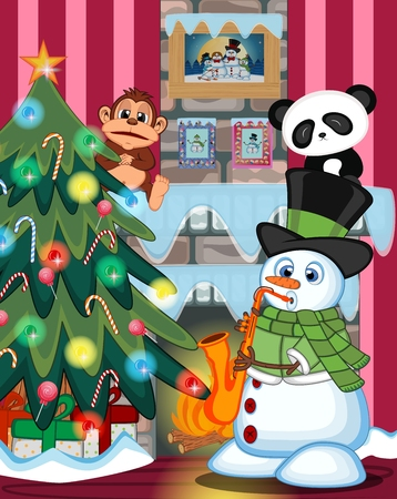 fire place: Snowman Wearing A Green Head Cover And A Scarf Playing Saxophone with christmas tree and fire place Illustration Illustration