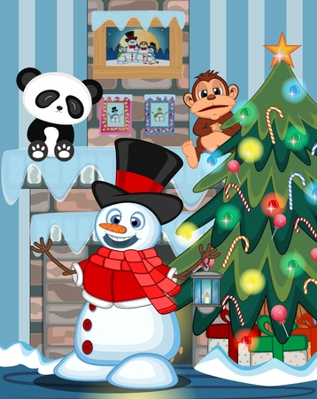 fire place: Snowman with a lantern and wearing a hat, red sweater and a red scarf with christmas tree and fire place Illustration Illustration