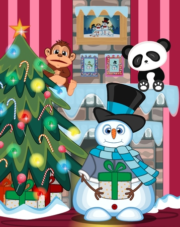 fire place: Snowman Carrying A Gift Wearing A Hat, Blue Sweater And A Blue scarf with christmas tree and fire place Illustration