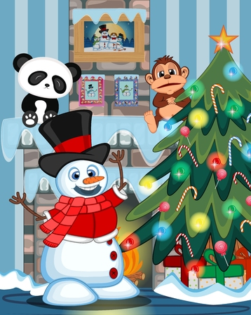 fire place: Snowman Wearing A Hat, Red Sweater And A Red Scarf with christmas tree and fire place Illustration