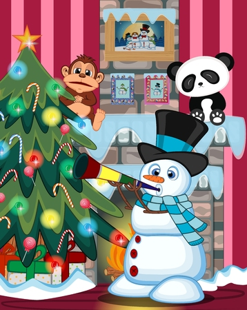 fire place: Snowman Wearing A Hat And A Blue Scarf Blowing Horns with christmas tree and fire place Illustration Illustration