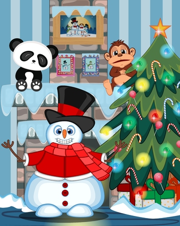 fire place: Snowman Wearing A Hat, Red Sweater And Red Scarf Waving His Hand with christmas tree and fire place Illustration