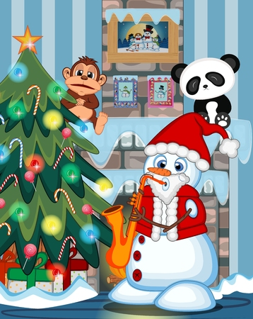 fire place: Snowman Wearing A Santa Claus Costume Playing Saxophone with christmas tree and fire place Illustration
