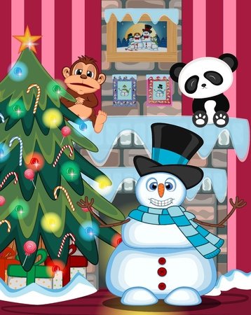 ice brick: Snowman Wearing A Hat And Blue Scarf Waving His Hand with christmas tree and fire place Illustration