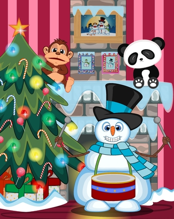 fire place: Snowman Playing Drums Wearing A Hat And A Blue Scarf with christmas tree and fire place Illustration Illustration