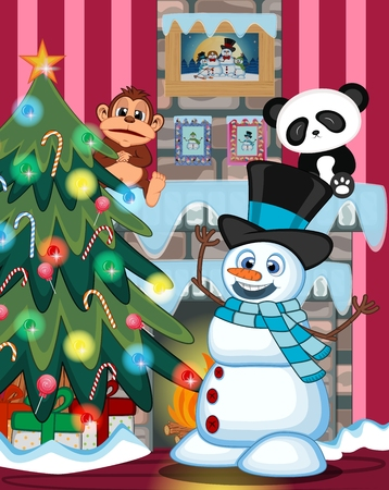 fire place: Snowman Wearing A Hat And A Blue Scarf with christmas tree and fire place Illustration Illustration