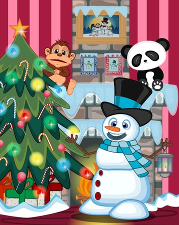 fire place: Snowman With A Lantern And Wearing A Hat And A Blue Scarf with christmas tree and fire place Illustration Illustration