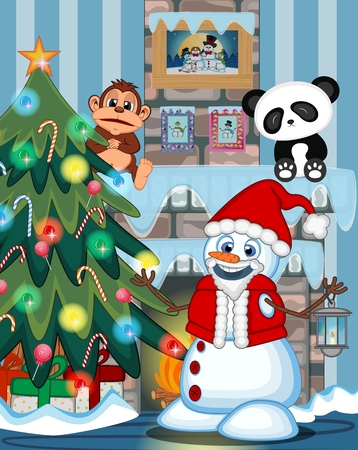 fire place: Snowman With A Lantern And Wearing A Santa Claus costume with christmas tree and fire place Illustration