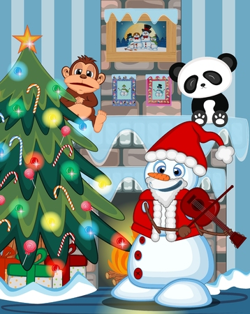 fire place: Snowman With Santa Claus Costume Playing The Violin with christmas tree and fire place Illustration Illustration