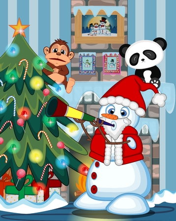fire place: Snowman Wearing A Santa Claus Costume Blowing Horns with christmas tree and fire place Illustration