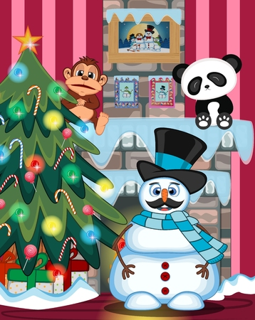 fire place: Snowman With Mustache Wearing A Hat And Blue Scarf with christmas tree and fire place Illustration