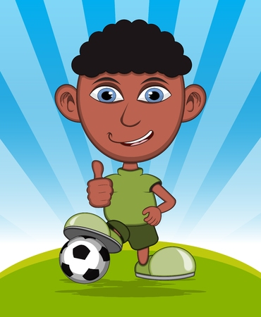 playing soccer: The boy playing soccer vector illustration