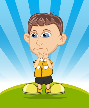 teary: The boy crying vector illustration Illustration
