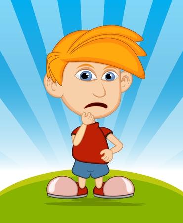teary: The boy is sad vector illustration