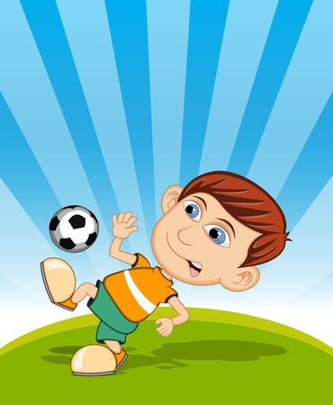 children sport: The boy playing soccer vector illustration