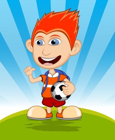 striker: The boy carrying the ball and backpack is waving his hand vector illustration Illustration
