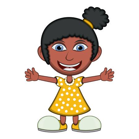 yellow dress: Little girl wearing a yellow dress cartoon vector illustration